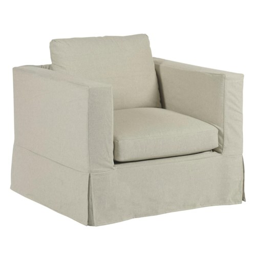 Kincaid Furniture Sydney Modern Slipcover Chair with Kick Pleat Skirt