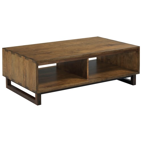Kincaid Furniture Traverse Carpenter Modern Craftsman Solid Wood Cocktail Table With Two Shelves