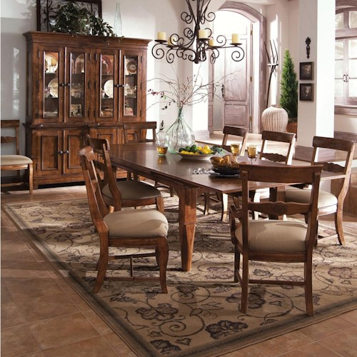 Morris Home Furnishings Tuscano 9 Pc. Refectory Leg Table with 2 Upholstered Arm Chair & 6 Upholstered Side Chair Set
