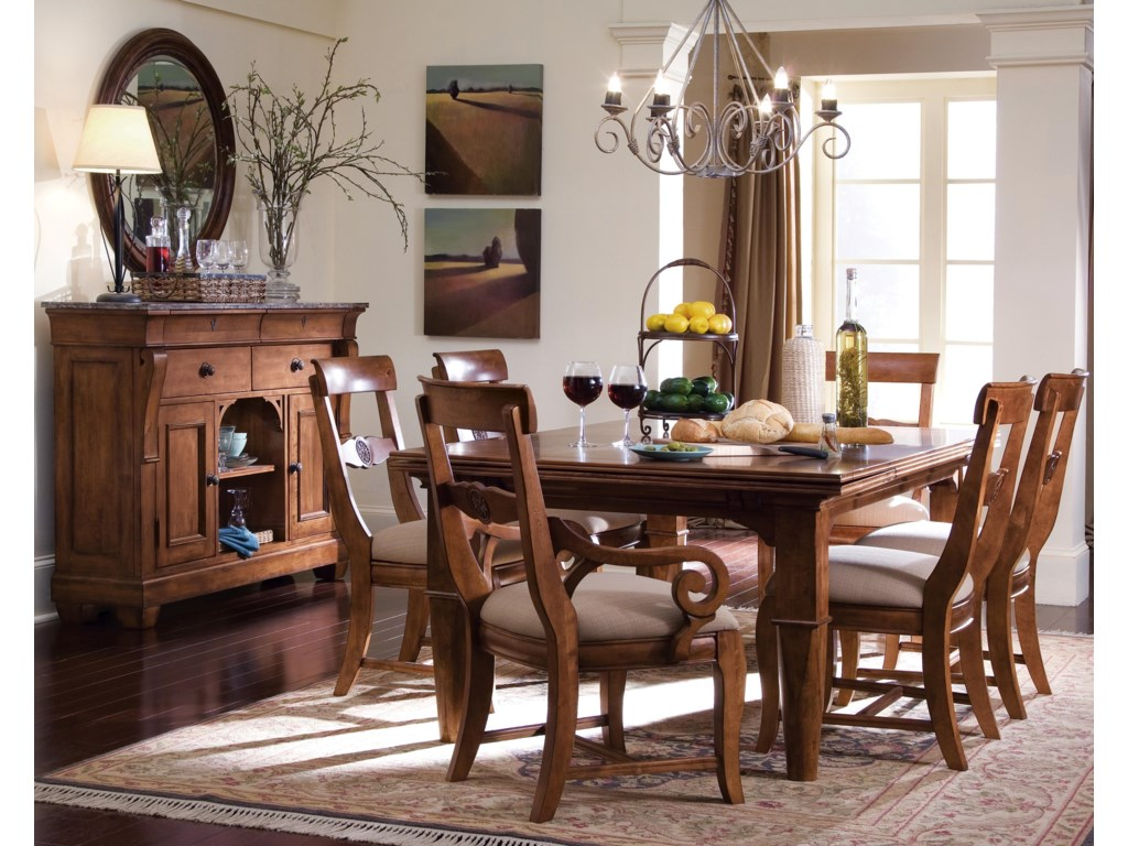 Shown with Sideboard, Side Chairs, Arm Chairs, and Table