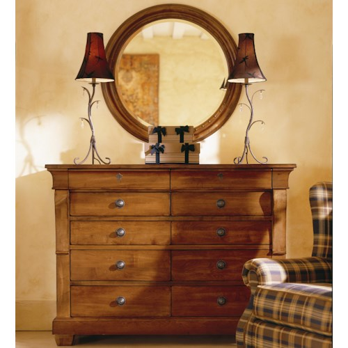 Morris Home Furnishings Tuscano Drawer Dresser With Round Mirror