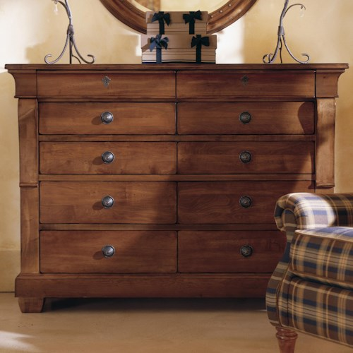 Morris Home Furnishings Tuscano Drawer Dresser Solid Wood Top