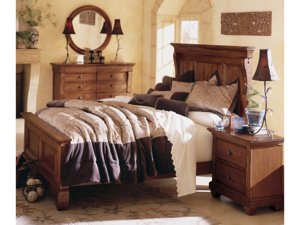 Shown with Round Mirror, Panel Bed, and Nightstand