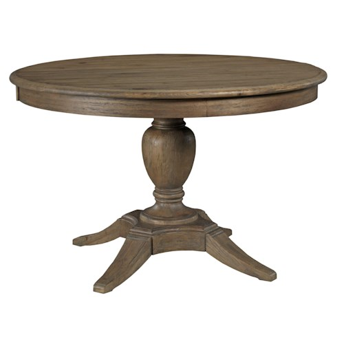 Kincaid Furniture Weatherford Milford Round Dining Table Package with Pedestal Base and Splayed Legs