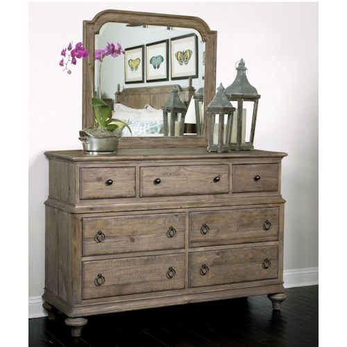 Kincaid Furniture Weatherford Wellington Dresser and Westland Mirror Combination