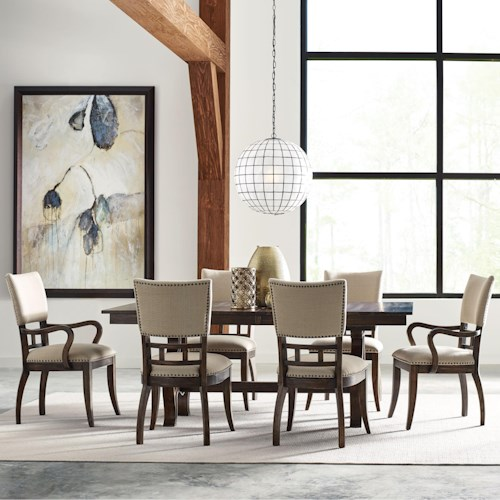 Kincaid Furniture Wildfire Seven Piece Dining Set with Extendable Trestle Table and Tweed Chairs
