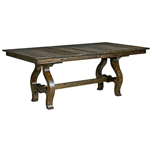 Kincaid Furniture Wildfire Vintage Trestle Table with Two Table Extension Leaves