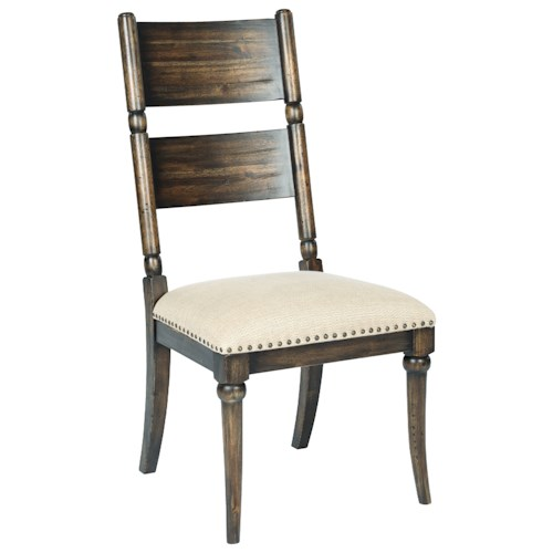 Kincaid Furniture Wildfire Post Side Chair with Upholstered Seat and Nailhead Trim