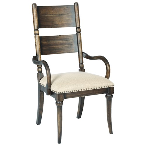 Kincaid Furniture Wildfire Post Arm Chair with Upholstered Seat and Nailhead Trim