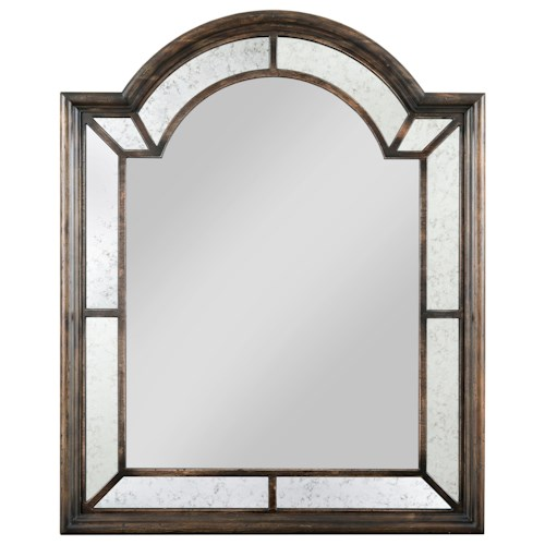 Kincaid Furniture Wildfire Palladian Arched Mirror with Antiqued Glass Detailing and Included Mirror Hangers