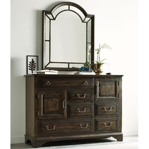 Kincaid Furniture Wildfire Vintage Bureau with Palladian Mirror Set