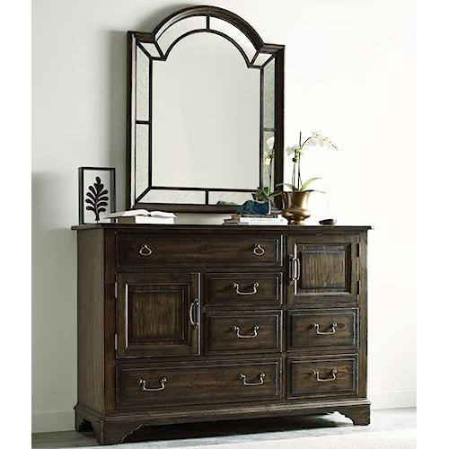 Kincaid Furniture Wildfire Vintage Bureau with Palladian Mirror Set