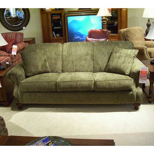 Morris Home Furnishings 4200 Rolled arm and back sofa with nail head trim