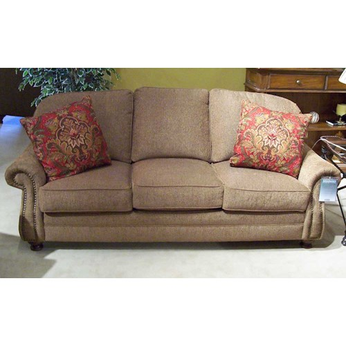 King Hickory 9000 88 Semi Attached Back Sofa With Turned Wood Legs Story Lee Furniture