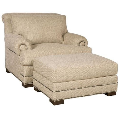 Morris Home Furnishings Barclay Upholstered Chair and Ottoman w/ Nailhead Trimming