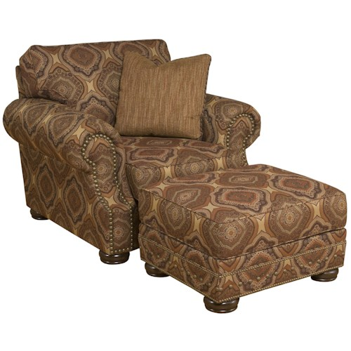 Morris Home Furnishings Edward Traditional Upholstered Chair & Ottoman