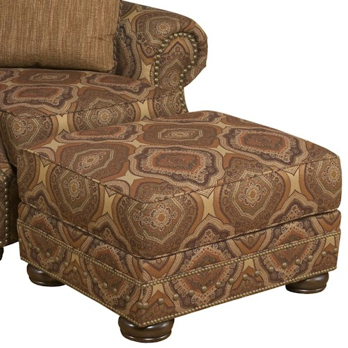 Morris Home Furnishings Edward Ottoman with Exposed Wood Feet
