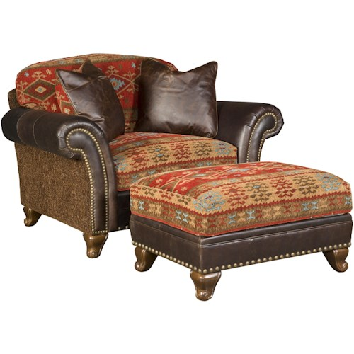 Morris Home Furnishings Katherine Traditional Chair and a Half and Ottoman with Nailhead Trim