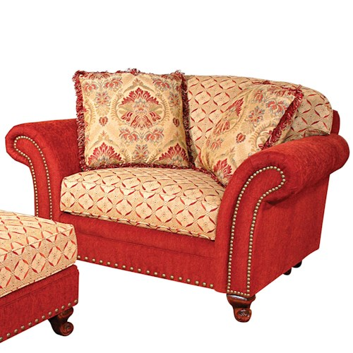 Morris Home Furnishings Katherine Traditional Chair and a Half with Nailhead Trim