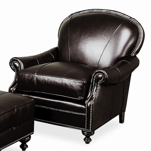 Morris Home Furnishings Accent Chairs and Ottomans Pinehurst Leather Club Lounger with Nailhead Trim Accents