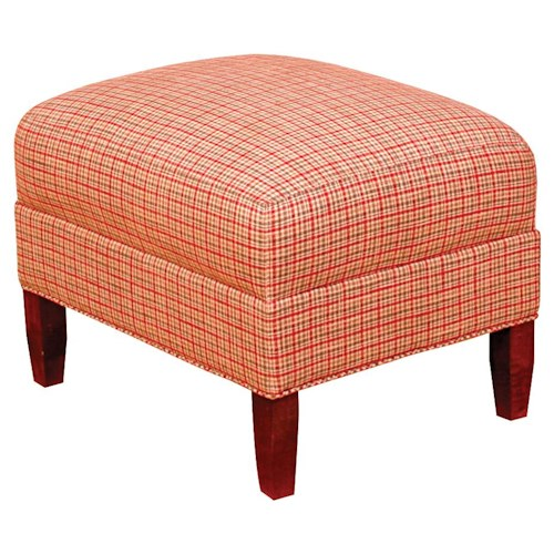 Morris Home Furnishings King Hickory Accent Chairs and Ottomans Upholstered Francis Ottoman with Tapered Mission Style Legs