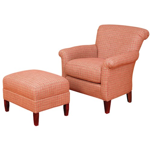 Morris Home Furnishings King Hickory Accent Chairs and Ottomans Francis Rolled Back Accent Chair and Ottoman Set