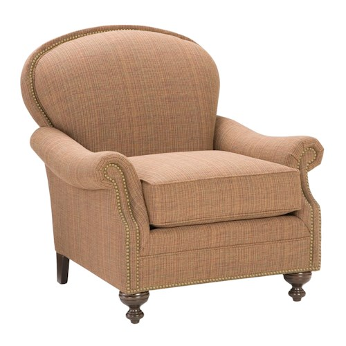 Morris Home Furnishings King Hickory Accent Chairs and Ottomans Pinehurst Accent Chair with Nailhead Trim