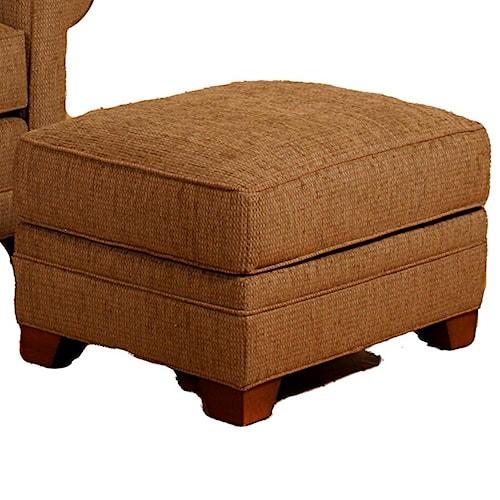 Morris Home Furnishings Veronica Upholstered Ottoman with Wood Feet