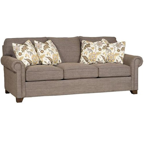 King Hickory Winston Transitional Sofa with Rolled Panel Arms