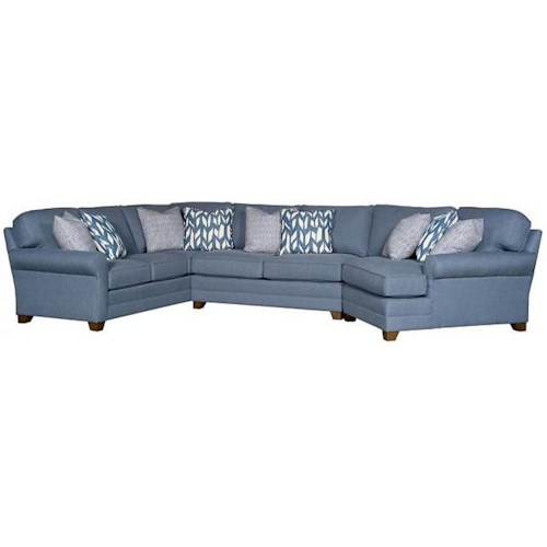Morris Home Furnishings Winston Transitional Sectional with Tapered Block Feet and Sock Rolled Arms