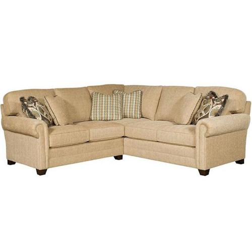 Morris Home Furnishings Winston Transitional Sectional with Sock Rolled Arms and Tapered Block Feet