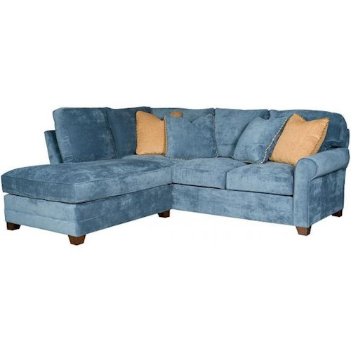 Morris Home Furnishings Winston Transitional Sectional with Rolled Sock Arms and Tapered Block Feet