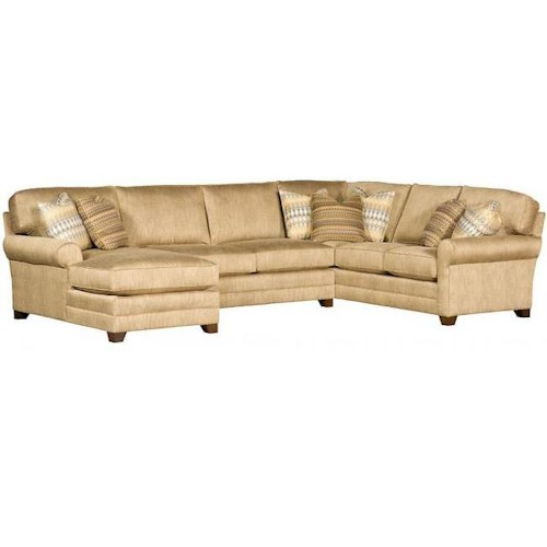 Morris Home Furnishings Winston Transitional Sectional with Tapered Block Feet