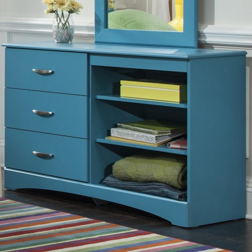 Kith Furniture 173 Turquoise Dresser with Three Drawers and Two Shelves