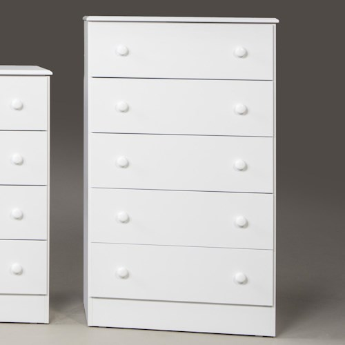 Kith Furniture 193 White 5 Drawer Chest