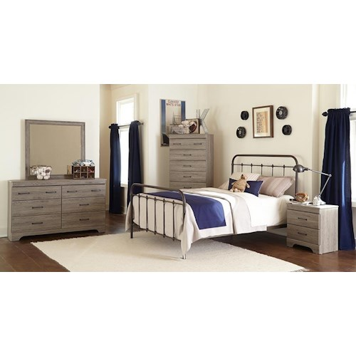 Kith Furniture Jourdan Creek Full Bed with Rails, Dresser, Mirror & Nightstand