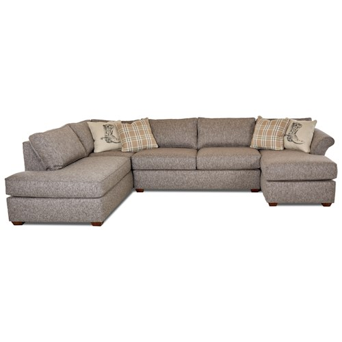 Klaussner  Jaxon Three Piece Sectional Sofa with Flared Arms and LAF Sofa Chaise