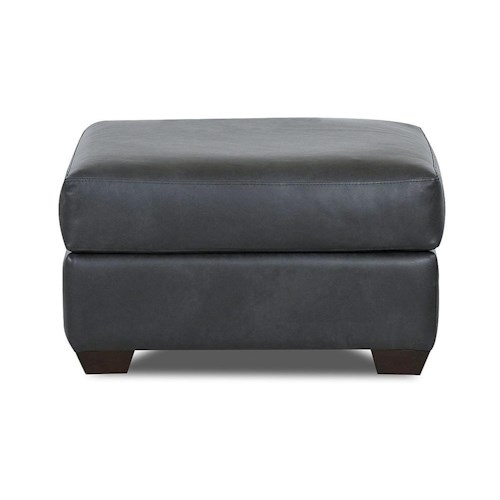 Simple Elegance Cascade Transitional Ottoman with Tapered Wood Feet