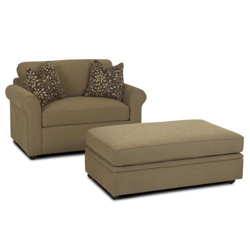 Klaussner Brighton Chair and a Half Royal Sleeper & Rectangular Storage Ottoman