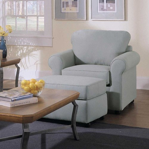 Elliston Place Brighton Upholstered Chair and Ottoman