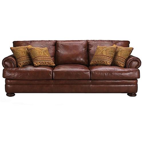 Elliston Place Montezuma Casual Style Leather Sofa with Bun Feet
