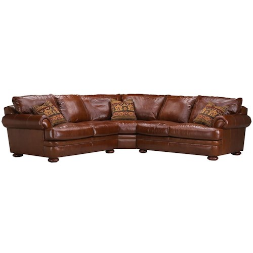 Elliston Place Montezuma Casual Style Leather Sectional Sofa with Bun Feet