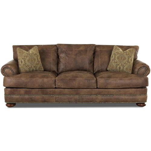 Elliston Place Montezuma Casual Style Leather Sofa with Bun Feet