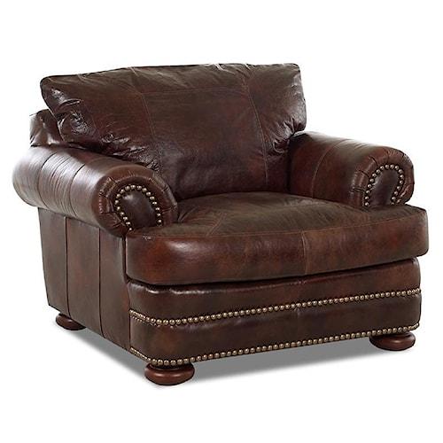 Elliston Place Montezuma Leather Casual Style Chair with Bun Feet