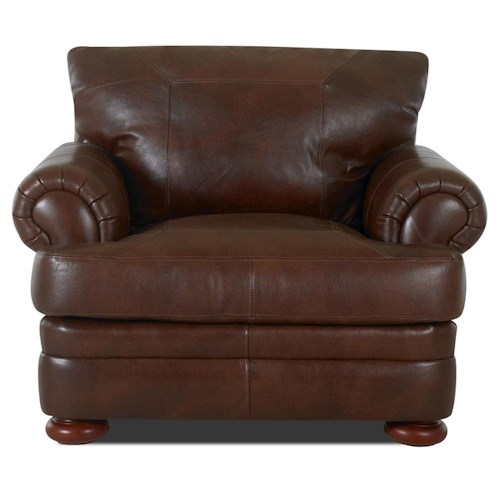 Klaussner Montezuma Leather Casual Style Chair with Bun Feet