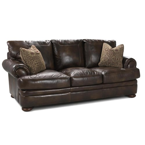 Elliston Place Montezuma Leather Studio Sofa with Rolled Arms