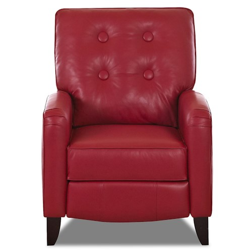 Klaussner Allison High Leg Reclining Chair with Attached Pillow Back