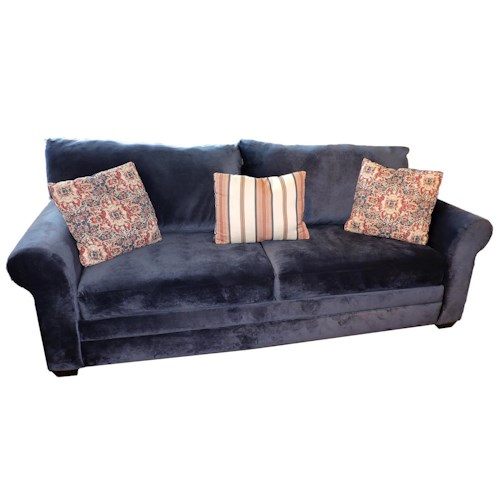 Belfort Basics Cora Casual Sofa with Loose Back Pillows and Rolled Arms