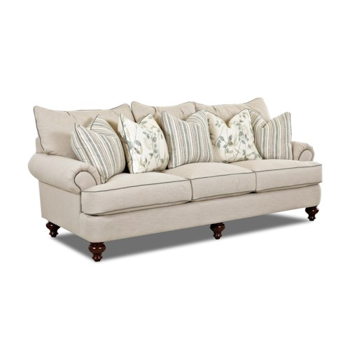 Elliston Place Ashworth D95200 Traditional Upholstered Sofa with T-Shaped Down Cushions, Rolled Arms and Turned, Spindle Legs