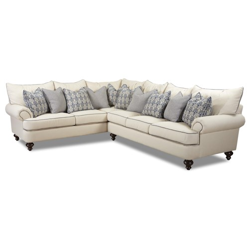 Elliston Place Ashworth Shabby Chic Sectional Sofa